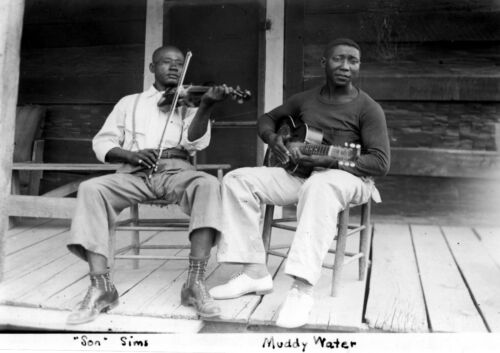 "Reproduction ""Muddy Waters & Son Sims"" Poster, Blues, Wall Art, Vintage Print"
