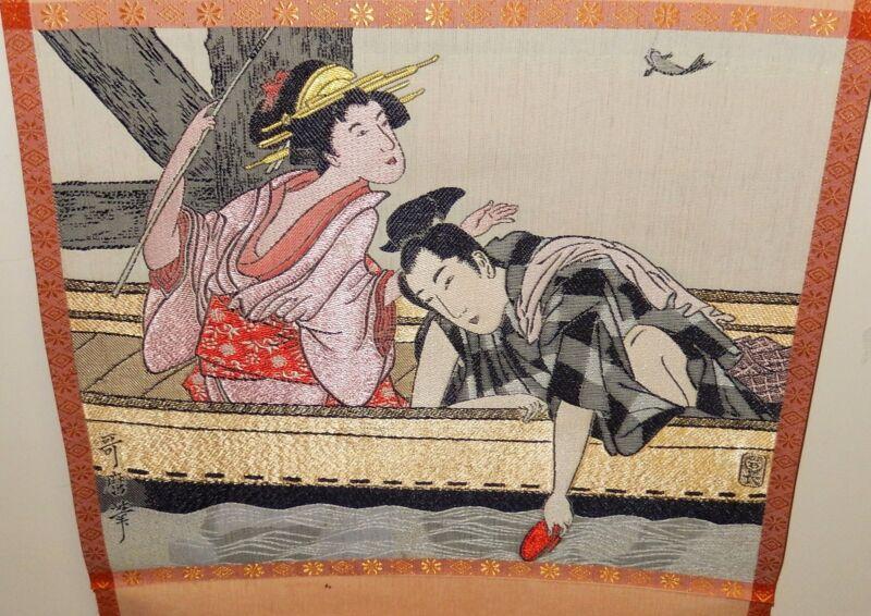 KITAGAWA UTAMARO JAPANESE SILK EMBROIDERY TAPESTRY SCROLL PAINTING SIGNED