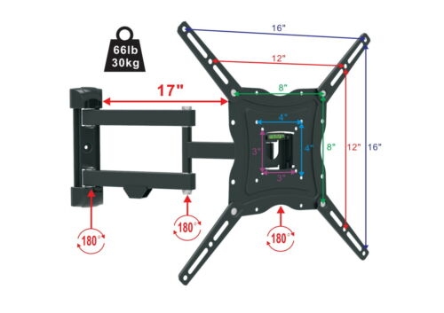 Full Motion LCD LED Plasma Flat TV Wall Mount Bracket 32 37
