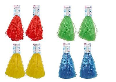 POM POMS CHEERLEADER SCHOOL FANCY DRESS ACCESSORY DANCE GROUP THEATRE - Pom Dance Kostüm