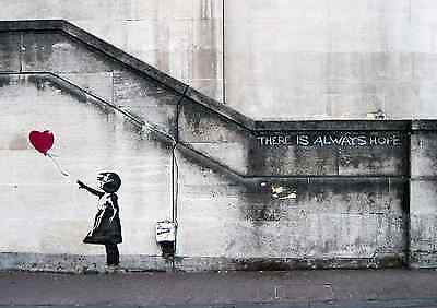 "Banksy - Balloon Girl 24""x36"" Canvas Print Urban Graffiti"