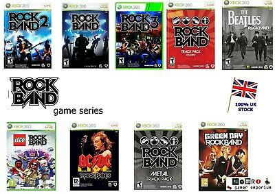 Xbox 360 Rockband Game SERIES - Rock Band Lego The Beatles Green Day 2 3 etc