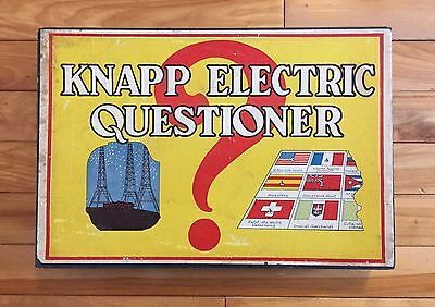 Vintage 1930's Knapp Electric Questioner Game #325 With 15 Cards & Wood Box VG