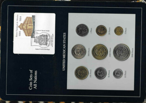 Coin Sets of All Nations Mexico 1987-1990 UNC 5,10,20,500,100,5000 Pesos 1988
