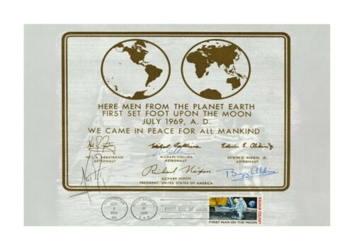 Apollo 11 copy Official Plaque lunar module A4 signed poster choice of frame