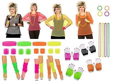80s 1980s Theme NEON FANCY DRESS Mesh Top - S Themen Kostüme