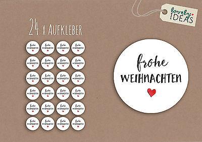 """24 x Geschenkaufkleber """"Frohe Weihnachten"""" 40mm weiß Etiketten Aufkleber Sticker"""
