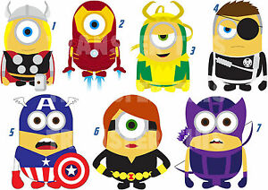 Sticker wall deco or iron on transfer minion marvel avengers iron man lot mh ebay - Mh deco ...