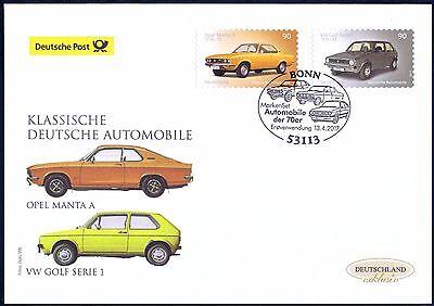 BRD 2017: Opel Manta und VW Golf! Post-FDC selbstklebende Nr. 3301+3302! 1A 1706