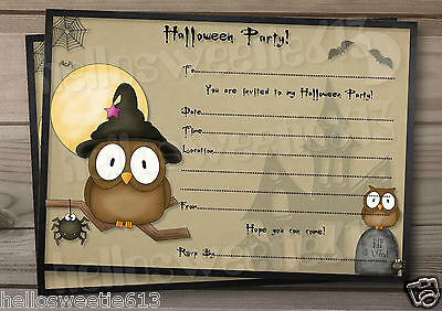 1-10 KIDS HALLOWEEN NIGHT OWLS & SILLY SPIDERS PARTY INVITATIONS AND ENVELOPES - Halloween Kids Invitations