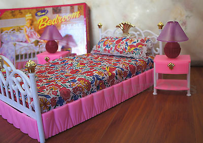 GLORIA FURNITURE DOLL SIZE NEW BEDROOM Lighted BEDLAMP SET FOR BARBIE PLAYSET