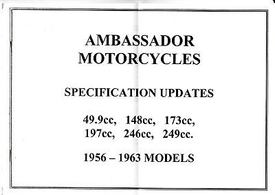 AMBASSADOR MOTOR CYCLES SPECIFICATION UPDATES.49.9cc to 249cc 1956 -1963 MODELS.
