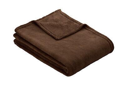 Dark Brown Ibena OLBIA Luxuriously Soft Cosy Plain Fleece Warm Throw / Blanket