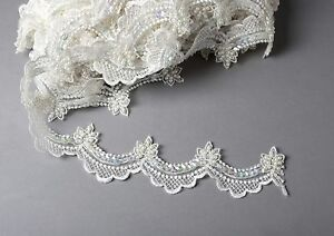 ivory beaded w sequins 2 5cm scalloped bridal trim lace by
