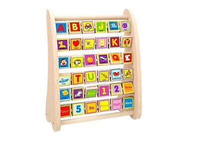 Toysters Wooden Alphabet and Number Abacus | Colorful ABC Blocks and Math Learn