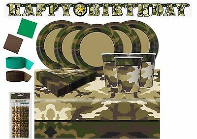 tary Birthday Party Tableware Supplies Forces Boys Camo (Camo Party Supplies)