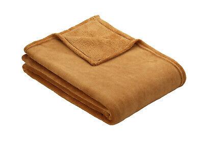 Camel Ibena OLBIA Luxuriously Soft Cosy Plain Fleece Warm Throw / Blanket