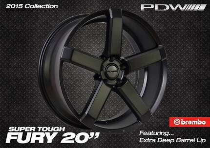 PDW FURY 20 INCH WHEEL & TYRE PACKAGE TO SUIT COMMODORE & FALCON