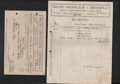 DRESDEN, 2 x Rechnung 1921, Bruno Grosslaub Damentuche Kostümstoffe