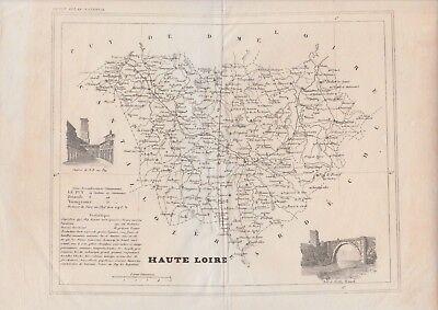 """1833 Two Antique Maps - """"Loir et Cher"""" and """"Haute Loire"""", France - Petit Atlas"""