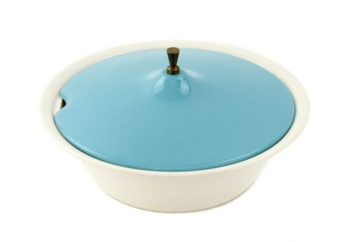 RARE VINTAGE SALEM ATOMIC NORTH STAR HOPSCOTCH TURQUOISE AND BRASS TUREEN BOWL