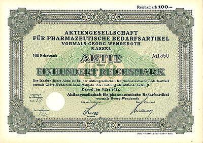 AG für pharmazeutische Bedarfsartikel vorm. Georg Wenderoth 100 RM 1933 Kassel