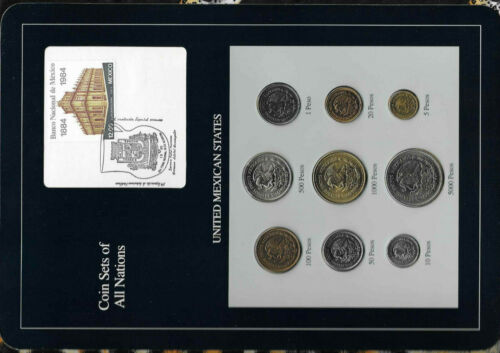 Coin Sets of All Nations Mexico 1987-1990 UNC 10,20,500,100,1000,5000 Peso 1988