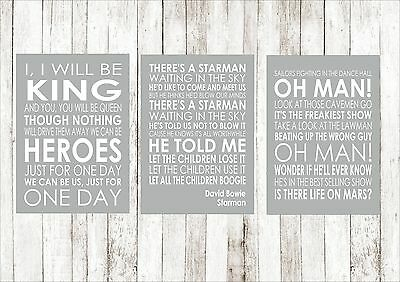 DAVID BOWIE HEROES,STARMAN, LIFE ON MARS  A4 Posters Song Lyrics Lyric All Three