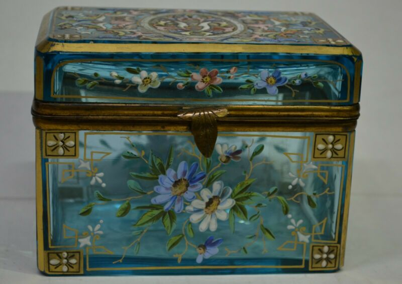 Moser Box light blue enameled hand painted box