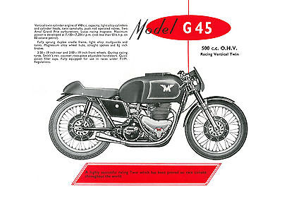 1957 Matchless G45 500cc motorcycle poster