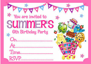 Personalised SHOPKINS Birthday Party Invitations or Thank you cards ...