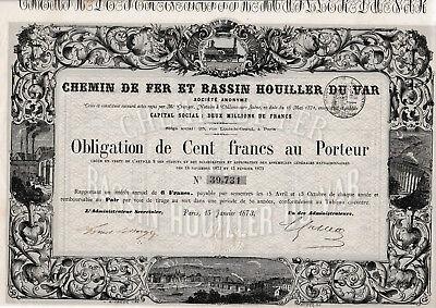 Chemin de Fer et Bassin Houiller du Var Obl. Paris 1873 Eisenbahn Frankreich