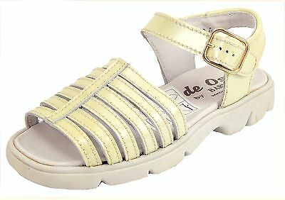 DE OSU B-116 - Girls Euro Ivory Patent Leather Dress/Casual Sandals -Size 11-1 - Ivory Girls Sandals