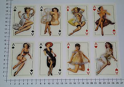 PIN UP ASS 8er SET Aufkleber Sticker Ace Oldschool Girls Tattoo Hot Rod V8 Se27 ()