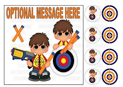 """Nerf Wars Gun Iced / Icing / Cake Topper Edible Square 7.5"""" + 8 Cupcake Toppers"""