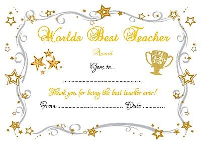 Personalised Best Teacher Ever In The World Certificate Card Gift Idea School