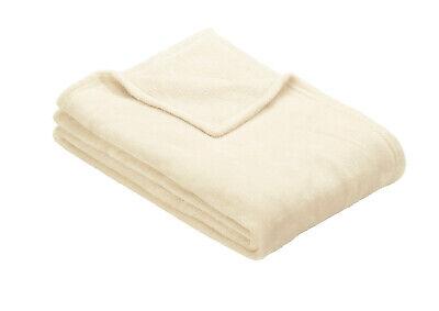 Off White Ibena OLBIA Luxuriously Soft Cosy Plain Fleece Warm Throw / Blanket