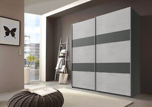 Qmax 'Chess' Sliding Door Wardrobe. Grey & Graphite - German Bedroom Furniture