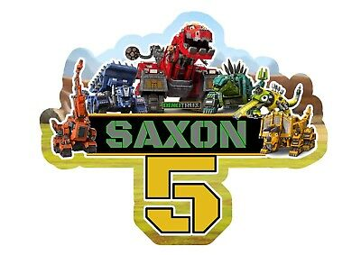 Dinotrux PERSONALISED Cake Topper.  Pary Supplies Lolly Loot Bag Food Dinosaur