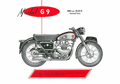 1957 Matchless G9 500cc motorcycle poster