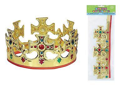 Kings Crown Kostüme (Xmas Royal Gold Crown Party Fancy Dress Nativity Queen King Jewel Accessory)