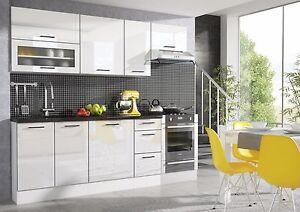 WHITE HIGH GLOSS Kitchen 7 Units on Legs Cabinets Set Black Rim Soft Close 240cm
