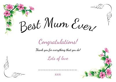 Personalised Best Mum certificate mothers day gift idea card - ideal for