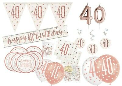 40th Birthday Tableware (40th Rose Gold Shiny Birthday Party Balloons Tableware Decorations Supplies)