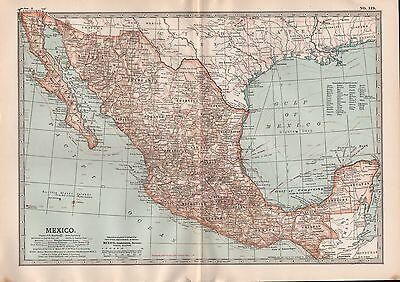 1903 BRITANNICA ANTIQUE MAP MEXICO