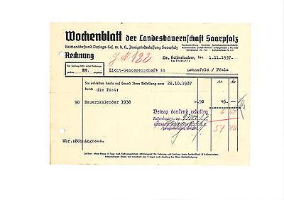 Rechnung 1937 Wochenblatt der Landesbauernschaft Saarpfalz Kaiserslautern
