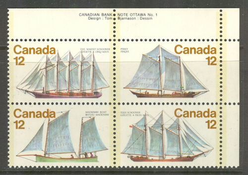 Canada #744-747 (747a), 1977 12c Sailing Vessels / Ships, PB4 Unused NH
