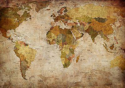 XXL Poster 100 x 70cm (K701) Alte Weltkarte, Landkarte, Lieferung gerollt