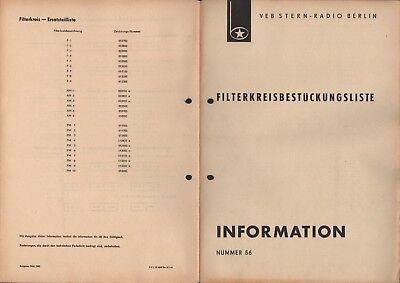 BERLIN, Prospekt 1965, VEB Stern-Radio Berlin Filterkreisbestückungsliste
