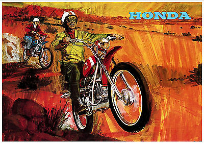 HONDA Poster SL90 1967 1968 1969 and 1970 Pop Art Suitable to Frame